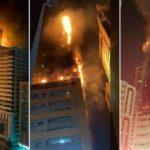 Пожар в жилом небоскребе в Эмиратах