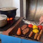 Дачная печь из металлической бочки и кирпичей