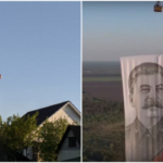 Над Воронежем пронесли огромного Иосифа Сталина на воздушном шаре