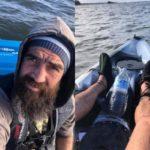 Обессилевший рыбак, которого унесло в море, снял на видео свои последние мгновения
