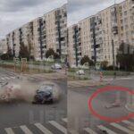 В Петербурге пассажира авто выбросило на дорогу во время столкновения машин