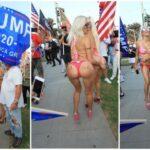 45-летняя французская телеведущая «Френчи» Морган (Angelique «Frenchy» Morgan) и порноактриса Тиффани Мэдисон (Tiffany Madison) на митинге в поддержку Трампа